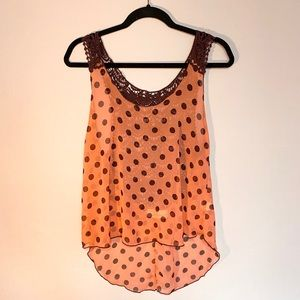 Polka dot tank top blouse